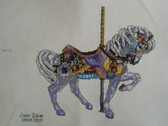 Cross Stitched Carousel Horse-John Zalar 1913