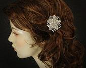 JULIENNE, Dramatic Art Deco Rhinestone Flower Bridal Hair Clip
