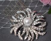 EUGENIA - Wedding Hair Comb, SWAROVSKi Crystal Rhinestone and Pearl Bridal Hair Comb, Art Deco Wedding Bridal Hair Accessories, White, Ivory