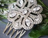 KATHIA, Vintage Style Bridal Oval Crystal Hair Comb, Victorian Rhinestone Wedding Hair Comb, Wedding Hair Accessories, Crystal Bridal Comb