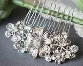ABAGAIL, Victorian Style Wedding Hair Comb, SWAROVSKI Crystal Rhinestone Flower Bridal Hair Comb, Wedding Accessory (Signature Collection)