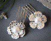 GILDA - Vintage Inspired Bridal Hair Combs, SWAROVSKI Crystal and Pearl Wedding Hair Combs (Set of TWO), Rhinestone Wedding Hair Accessories