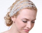 CHELSEA - Grecian Rhinestone Beaded Ribbon Wedding Headband, Triple Oval Bridal Headband in Silver, White or Ivory, Wedding Hair Accessory