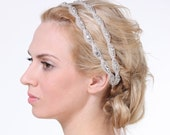 CHELSEA - Grecian Bridal Headband, Vintage Style Wedding Oval Headband, Ivory, White, Silver Ribbon Crystal Headband, Bridal Hair Accessory