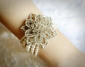 ZANA, Bridal Pearl Bracelet, Vintage Style Crystal Rhinestone Wedding Bracelet Cuff, Swarovski Pearl Statement Bracelet, Flower Jewelry