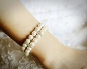 MARCIA, Bridal Bracelet, Swarovski Pearl Wedding Bracelet, Crystal Rhinestone Statement Bracelet Cuff, Silver or Gold Wedding Bridal Jewelry