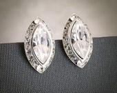 PETRA, SWAROVSKI Marquise Oval Crystal Rivoli Bridal Stud Earrings, Bridal Wedding Jewelry, Bridesmaids Post Earrings, Modern Vintage