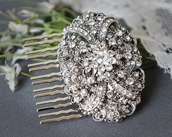VANESSA, Victorian Wedding Hair Comb, SWAROVSKI Crystal Bridal Hair Comb, Vintage Style Wedding Hair Comb, Wedding Bridal Hair Accessory
