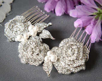 Bridal Hair Comb, Swarovski Pearl and Rhinestone Wedding Bridal Hair Comb, Vintage Style Rose Bridal Comb, Wedding Hair Accessory, ROSELLE