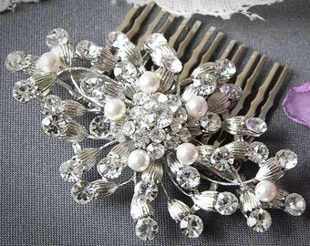 Bridal Hair Comb, Vintage Inspired Swarovski Pearl Wedding Bridal Hair Comb, Crystal Flower Comb, Art Deco Wedding Hair Accessories, OLIVIA