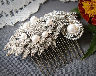 Wedding Hair Comb, Art Deco Swarovski Pearl Hair Comb, Vintage Inspired Leaf Rhinestone Bridal Hair Accessory, Wedding Hairpiece, ELISSA