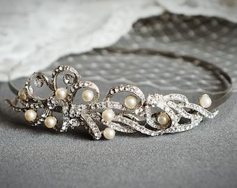 TEGAN, Vintage Inspired Wedding Headband, Art Deco Bridal Headband, Pearl and Crystal Wedding Hair Accessories, Bridal Hair Accessories