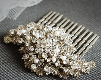 Bridal Hair Comb, Freshwater Pearl and Rhinestone Wedding Hair Comb, Crystal Hair Pin, Wedding Hair Accessories, Bridal Hair Piece, TALISHA