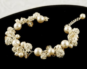 DELLA, Swarovski Bridal Bracelet, Crystal and Pearl Cluster Wedding Bracelet, Modern Vintage Style Rhinestone Bridal Statement Jewelry