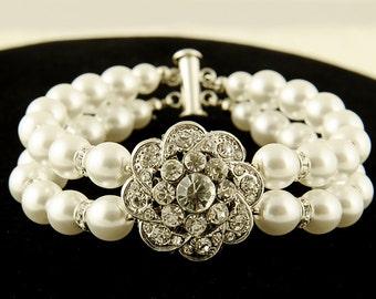 Bridal Bracelet, Swarovski Pearl Wedding Bracelet Cuff, Vintage Style Crystal Rhinestone Flower Statement Bracelet, Wedding Jewelry, EZINA