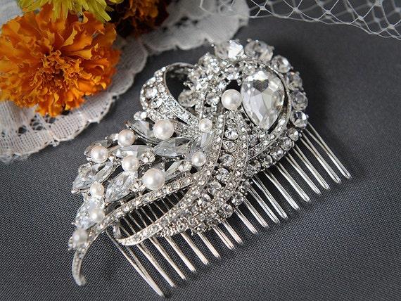 Pearl Bridal Hair Comb, Rhinestone and Crystal Wedding Hair Comb, Art Deco Swarovski Pearl Hair Comb, Wedding Bridal Hair Accessories, YEDDA