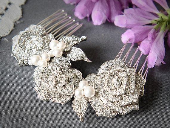 Bridal Hair Comb, Swarovski Pearl and Rhinestone Wedding Bridal Hair Comb, Vintage Style Rose Bridal Comb, Wedding Hair Accessory, ROSELLE