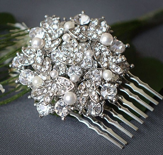 ALINA, Pearl and Crystal Rhinestone Wedding Hair Comb, Vintage Inspired Bridal Hair Comb, Art Deco  Wedding Hair Accessories, Old Hollywood