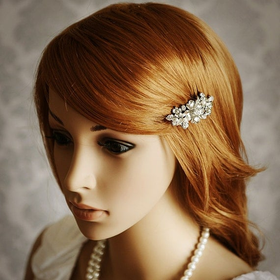 Victorian Style Wedding Hair: Victorian Flower Bridal Hair Comb Crystal And Pearl Wedding