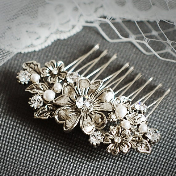 Victorian Flower Bridal Hair Comb, Crystal and Pearl Wedding Hair Comb, Vintage Bridal Hair Accessories, (Signature Collection) ABAGAIL