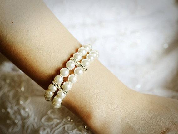 Bridal Bracelet, Swarovski Pearl Wedding Bracelet, Crystal Rhinestone Statement Bracelet Cuff, Silver or Gold Wedding Bridal Jewelry, MARCIA