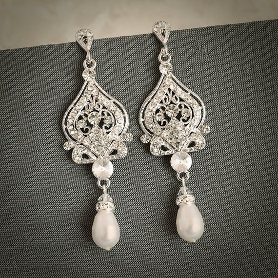 Grace Vintage Inspired Wedding Bridal Earrings By Glamorousbijoux