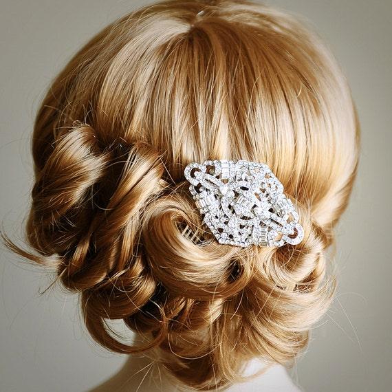 TYNE, Bridal Hair Comb, Art Deco SWAROVSKI Crystal Wedding Hair Comb, Vintage Style Wedding Rhinestone Hair Comb, Bridal Wedding Headpiece