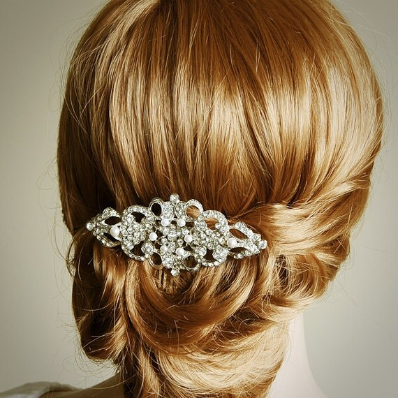 YETTA, Victorian Pearl and Rhinestone Bridal Hair Comb, Wedding Bridal Comb, Vintage Inspired Wedding Hair Accessories, Crystal Hair Comb