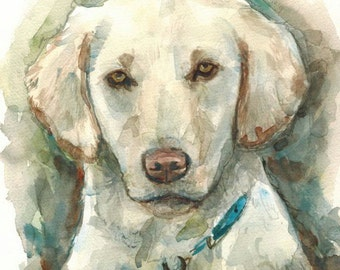 Custom Pet Portraits, Original Watercolor Painting 8X10