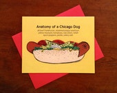 Chicago hot dog greeting card