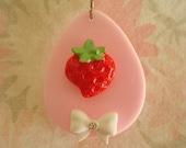 On Sale Juicy Fresh Strawberry Lolita Necklace OOAK