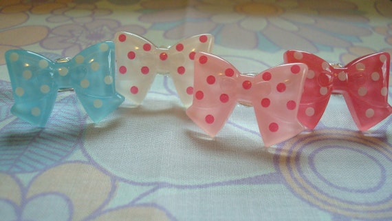 Polkadotted Bow Kawaii Ring Only Blue One Left