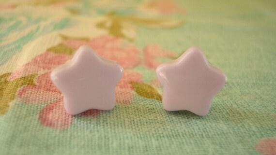 Lilac Fairy Kei Star Earring Studs