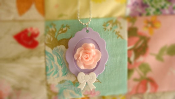 Roses During Tea Time Assembled Lolita Necklace With A Purple Cameo OOAK