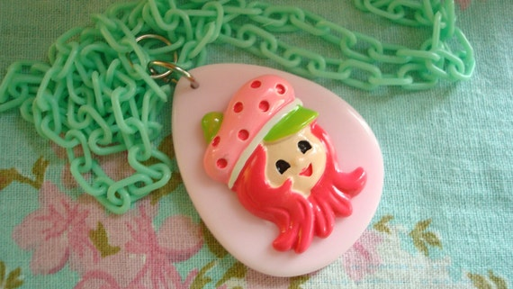 Strawberry Shortcake Pastel Assembled Kawaii Lolita Necklace With A Minty Green Plastic Chain OOAK