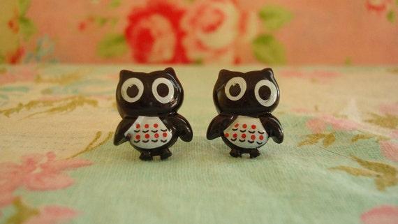 Lil Goth Hoots Kawaii Owl Earring Studs