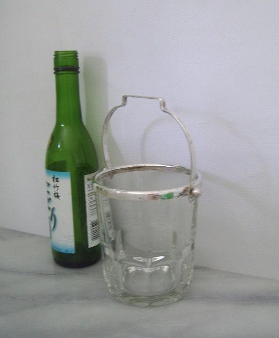 Petite European Glass Ice Bucket Silver Trim