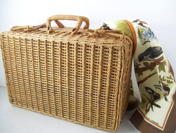 Oriental Bamboo Carryall Purse Picnic Basket