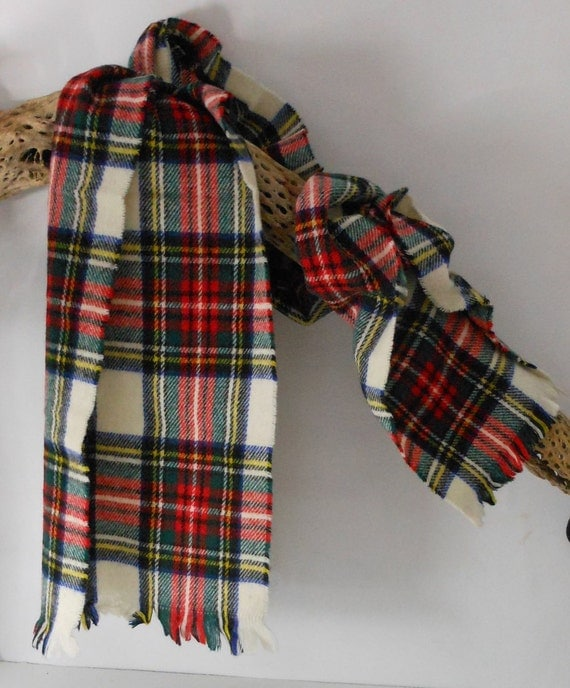 SALE Scotland Wool Scarf White with Red Blue Green