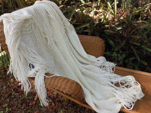"SALE Ivory Kennebunk Weavers Throw 14"" Fringe Elegant"