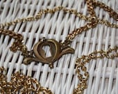 Open Your Heart Necklace - Gold Antique Heart Drawer Pull Necklace