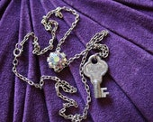 RESERVED for AlisonStowe - Don't Try to Open My Door With Your Skeleton Key Necklace - Silver Key with Sparkling Crystal Cluster