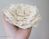 Fabric Flower Pin - Jumbo Poppy Blossom - Ivory - Wedding Accessory - Natural Muslin - Brooch and Clip