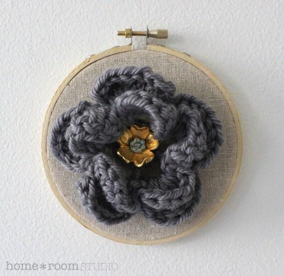 Embroidery Hoop Art -  Crochet Flower - Mercury Gray - Flower Pin - Wall Hanging and Wearable Accessory - 3in Hoop
