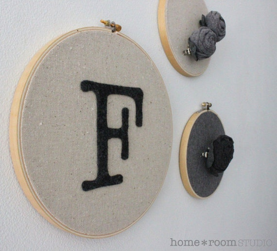 Embroidery Hoop Art - Monogram - Initial - Charcoal Felt - Wall Hanging - 8in Hoop