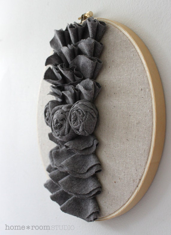 Embroidery Hoop Art - Pewter Jersey Roses and Ruffles Wall Hanging - 9in Hoop