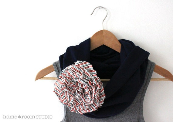 Jersey Knit Infinity Scarf- Navy Blue - with Jumbo Poppy Blossom - Multi Color Stripe - 100% Cotton - Brooch and Clip