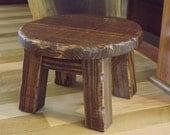 Reclaimed wood/ Rustic/ Farmhouse stool/ Primitive/ round stool/ step stool/ walnut stain