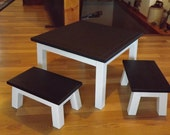 Childrens table and stools/ Chalkboard top /step stool/ foot stool/ solid wood/Reclaimed wood