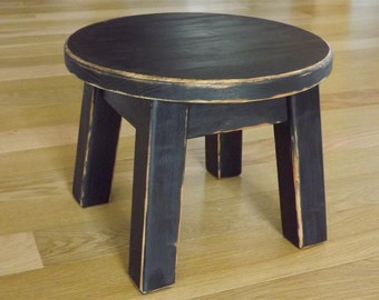 "Stool/Reclaimed wood/ painted/ riser/ round stool/ step stool/ foot stool/ painted/ 8"" H"